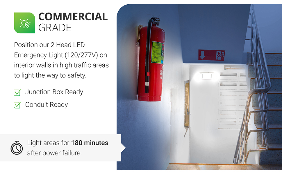 Emergency EXIT Sign, Backup Battery, Red Letter Emergency Exit Lighting, Commercial, Fire Resistant