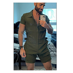 solid color bodycon jumpsuit for men