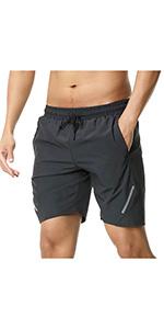 "7"" Workout Running Shorts Reflective Strip Design"