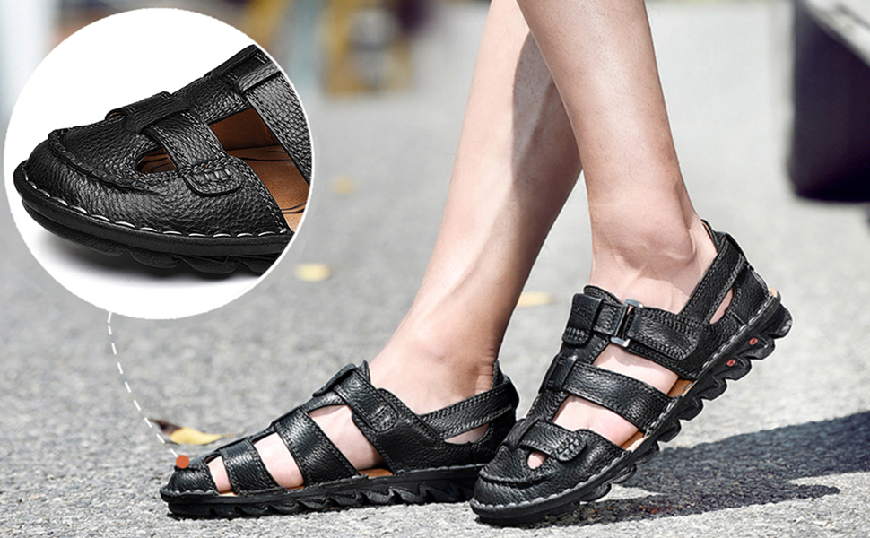 Mens Casual Closed Toe Leather Sandals Outdoor Fisherman Adjustable Summer Shoes