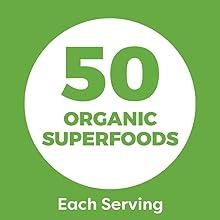50 organic superfoods in each scoop