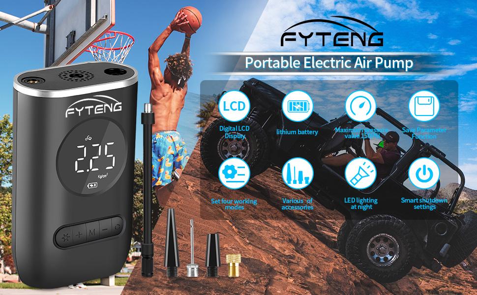 FYTENG Mini pompe électrique de gonfleur de compresseur d'air portatif pour les pneus vélo voiture