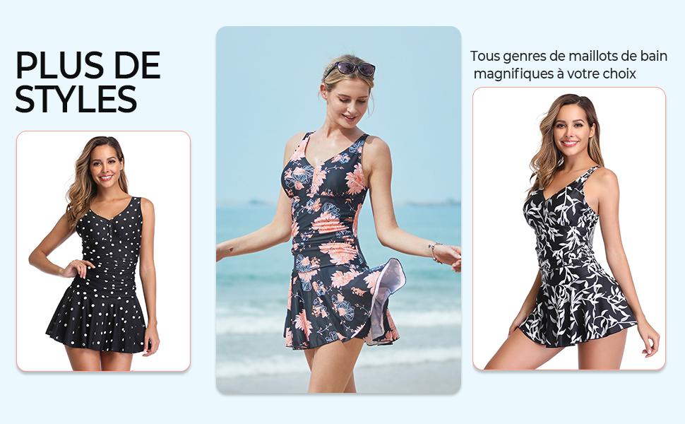 Summer Mae Maillot de Bain Robe Femme 1 Pièce Jupette Grande Taille Imprimé Fleur Moulant