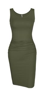 Sleeveless Ruched Bodycon Midi Dress