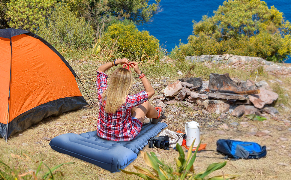 2021 upgraded ARIMEPI Sleeping Pad for Camping with Pillow