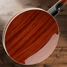 back of Ashthorpe five string banjo, mahogany resonator closed back, high gloss finish