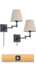 Adjustable Swing Arm Plug in Wall Sconce