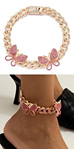 Big Pink Butterfly Cuban Anklet