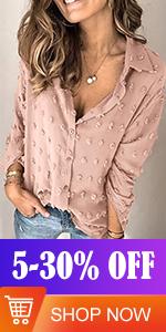 FARYSAYS Womens Chiffon Blouse Shirts Pom Pom Swiss Dot Long Sleeve Button Down Lapel Blouses Tops