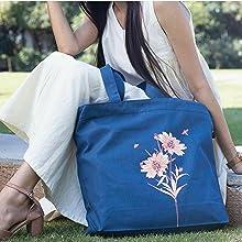 Zipper tote bags for women
