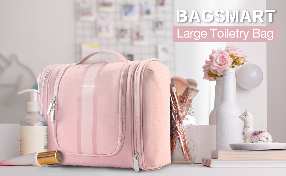 Toiletry Bag Travel Organizer for Shampoo, Full Sized Container, Toiletries, Pink