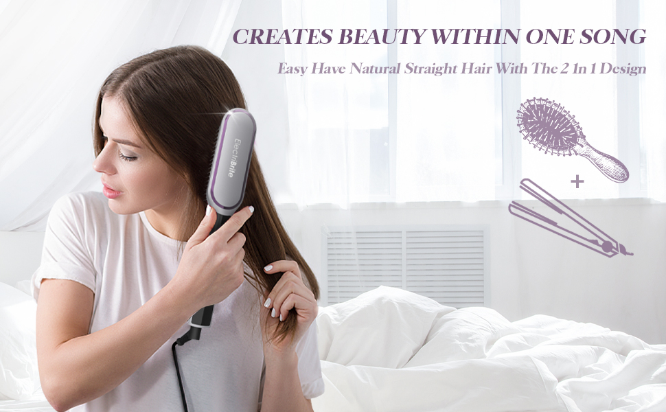 The combination of hair straightener and brush brings you natural straight hair within one song.