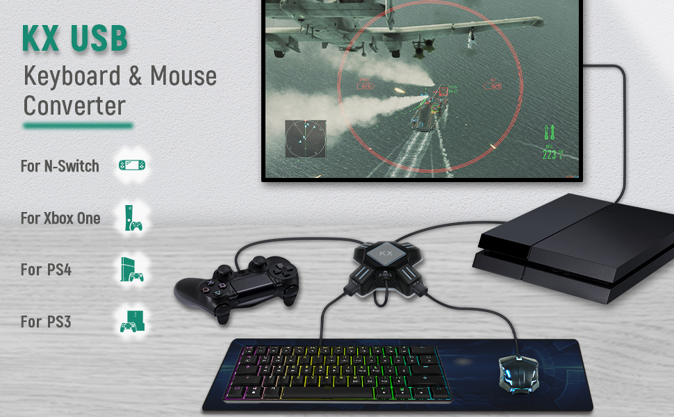 Mcbazel KX Gaming Teclado y Ratón USB Adaptador PS4/ PS3/ Xbox One/ NS Switch Console Converter
