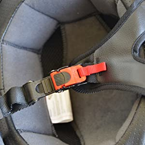 Quick release strap system for the sniper motorcycle helmet by Vega Helmets.