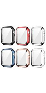 6 pack plated case with tempered glass screen protector for apple watch series