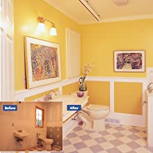 A bathroom remodel before and after photo.