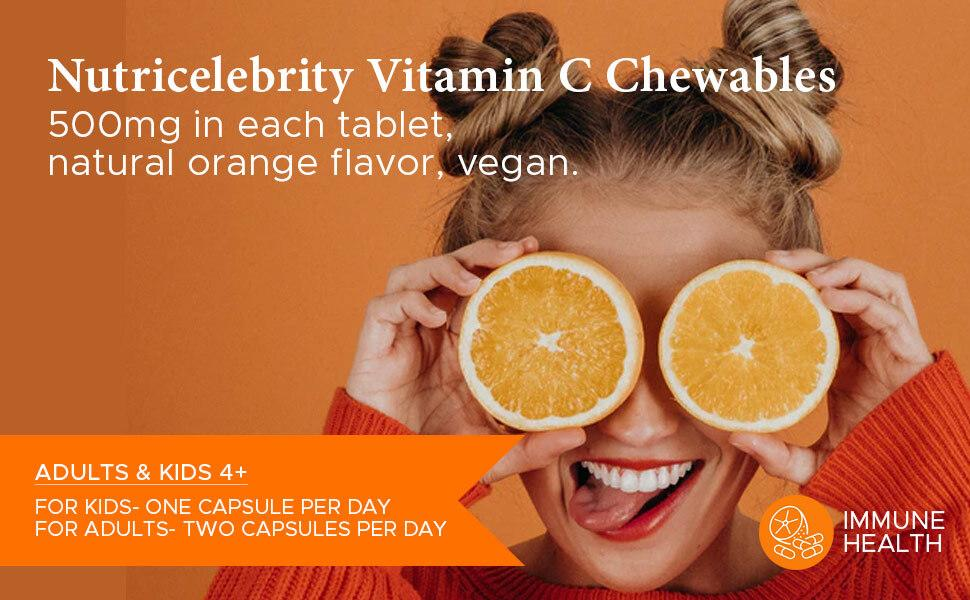 Nutricelebrity Vitamin C Chewables 500 mg in each tablet. Recommended serving for adults and kids