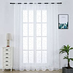 Floral Lace Sheer Rod Pocket Curtain Panel