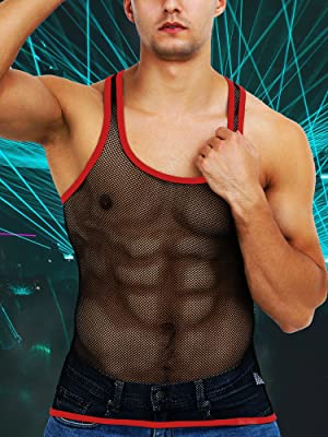 Mens Fishnet Shirt Mesh Tank Top Fitted See Through Muscle Sleeveless Undershirt Workout Vest Sexy