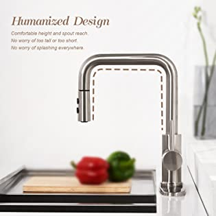 Peppermint Kitchen Faucet with Pull Down Magnetic Docking Sprayer Brushed Nickel