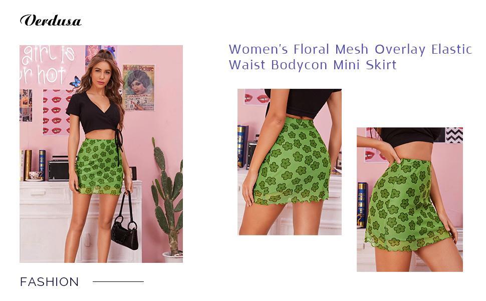 Verdusa Women's Floral Mesh Overlay Elastic Waist Bodycon Mini Skirt