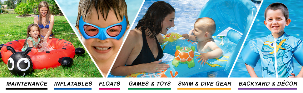 Baby pool, baby floats, puddle jumper, swim training aids, kid's swim train, dive gear for kids