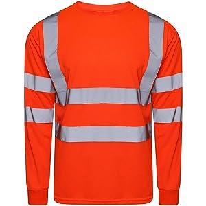 Hi Viz Vis Crew Neck Single Tone T Shirt Full Sleeve Safety Security Work Orange