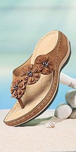 gracosy Wedge Sandals for Women Dressy Flip Flops Open Toe Slip On Summer Beach Slippers