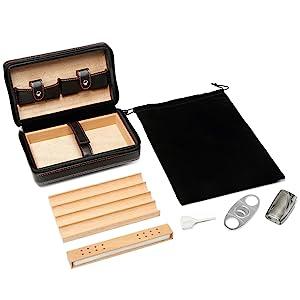 cigar humidor, leather cedar lined cigar travel case humidor w/cutter lighter set 4 count