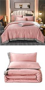 pink embroidered satin comforter