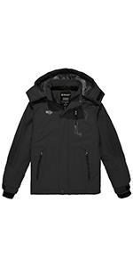 Wantdo Boyamp;#39;s Waterproof Ski Jacket Fleece Snowboarding Jackets Thick Winter Coat Hooded Fleece