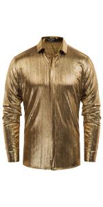 mens dress luxury metallic shirts long sleeve button down regular fir disco party shirt 70s costume