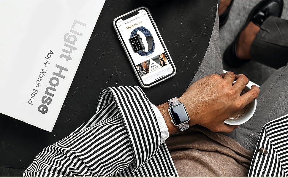 Light Apple Watch Band - Fashion Resin iWatch Band  Apple Watch Series 6 Series SE Series 5