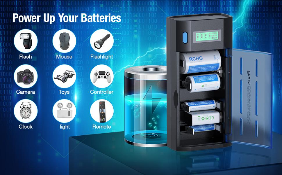 POWXS D Cell Rechargeable Long-Lasting Pre-Charged Batteries Max ...