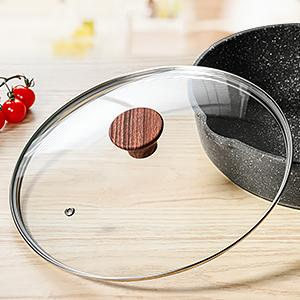 deep frying pan with tempered glass lid