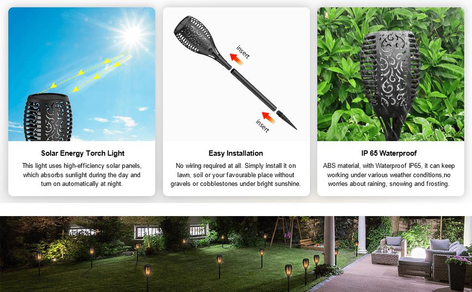 IP65 waterproof weatherproof solar pathway torch lights