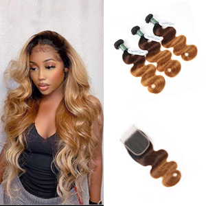Brazilian Ombre Bundles With Closure Human Hair Body Wave