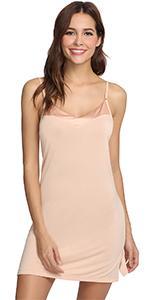 womens sleeveless nightgown bamboo viscose full slip basic mini sleepwear dress nightwear lingerie