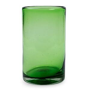 Novica,Glass,Drinkware,Green,Water,For Serving,Tableware ,For Kitchen,Gift,Juices,Handmade,Utensils