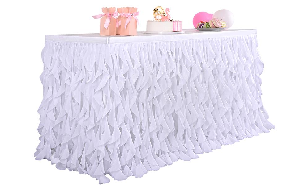 white tulle tutu table skirt