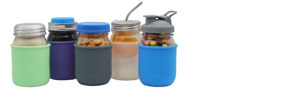 Ball and Kerr regular mouth pint Mason jars 16 oz silicone sleeves, drinking, storage, straw lids.