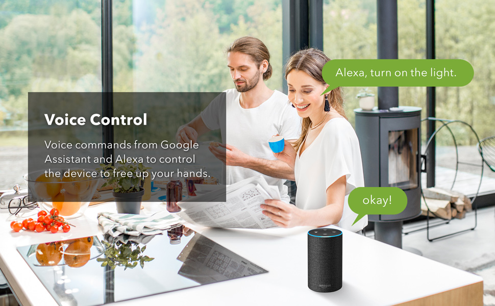 Voice commands from Google Assistant and Alexa to control the device to free up your hands
