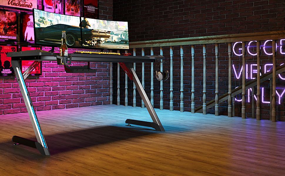 table gamer bureau gaming avec led pas grand desk bureaux ps4 jeu blue console pc eureka ergonomic