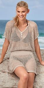 CHERRY CAT Womens Crochet Cover Up Caftan Cardigan Dress Bikini Cover Up Black