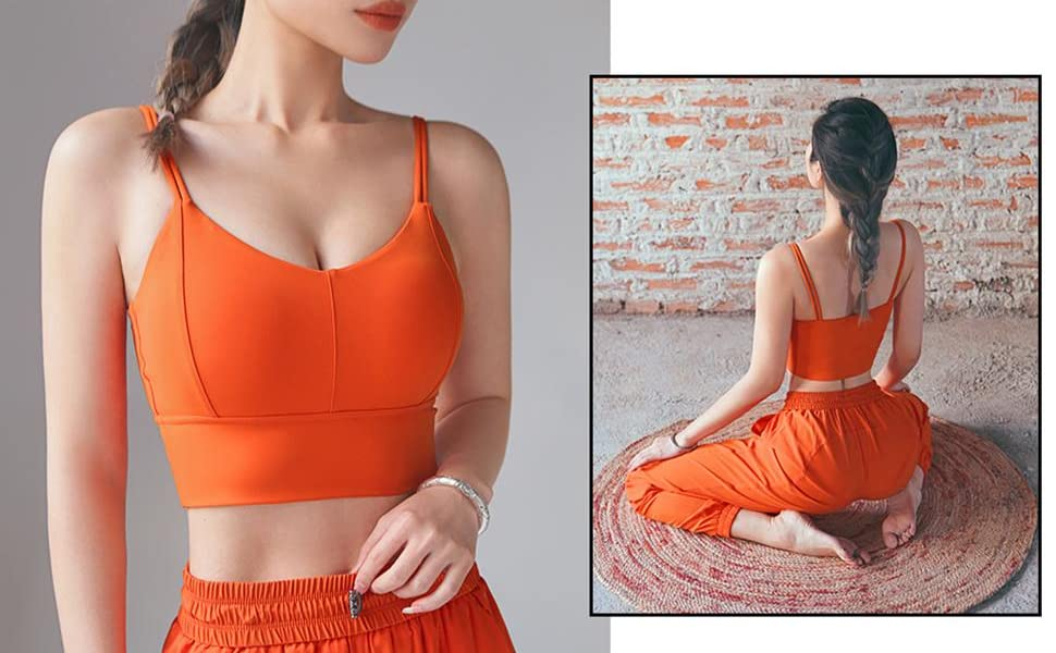 Women Padded Longline Sports Bra Strappy Workout Yoga Tops Fitness Crop TankCamisole  Shirts
