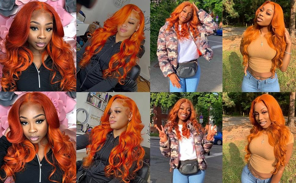 orange human hair wigs lace front