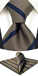 Brown Stripes Ties for Men with Pocket Square