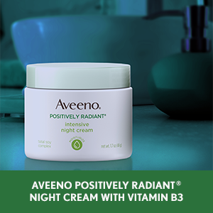 Aveeno Positively Radiant Night Face Cream with Vitamin B3 to brighten dull, uneven skin
