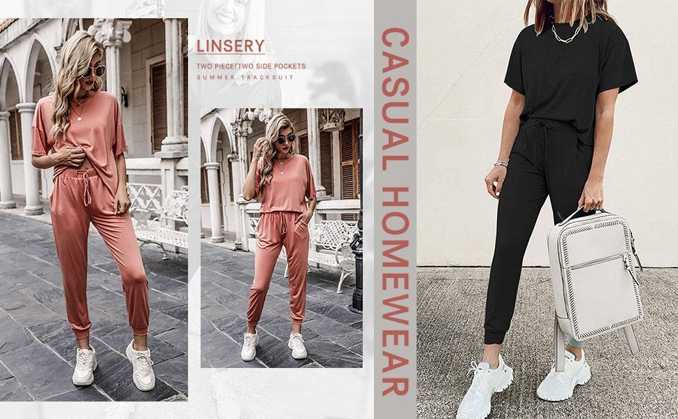 Elastic Waist Loose Sweatsuit Set Loungewear Sweatpants Sets