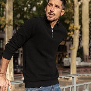 men quarter zip turtleneck sweater